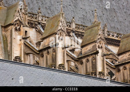 A detail shot of the flying buttresses on Saint Gatien cathedral in Tours, France. - Stock Photo