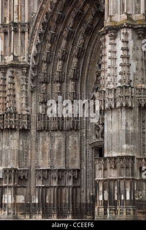 The west front of Saint Gatien cathedral in Tours, France. - Stock Photo