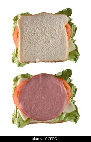 A Sandwich; Open and Closed Versions of Same Sandwich - Stock Photo