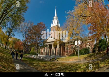 Memorial Church in Harvard University, Cambridge, Massachusetts, USA - Stock Photo