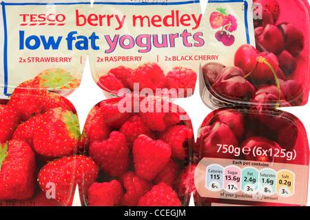 Tesco Berry Medley Low Fat Yogurts Stock Photo, Royalty ...
