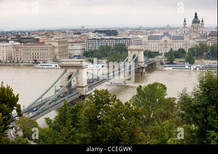 View from The Castle District over the Szechenyi Chain Bridge and River Danube, Budapest, Hungary, Europe - Stock Photo