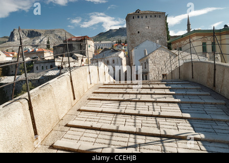 Newly rebuilt 'old bridge' (Stari Most), in Mostar old town, Bosnia and Herzegovina - Stock Photo