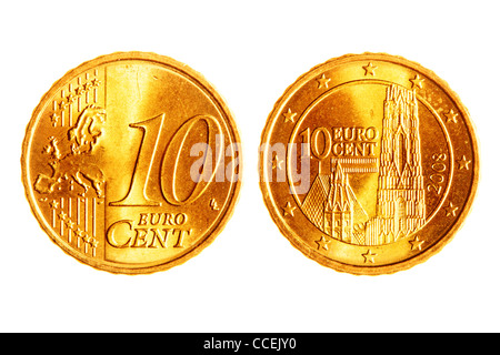 Ten euro cents coins isolated over white background - Stock Photo