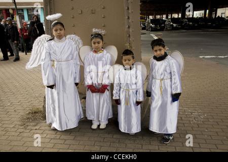 2012 Three Kings Day Parade, Brooklyn, New York. 4 Angels. - Stock Photo