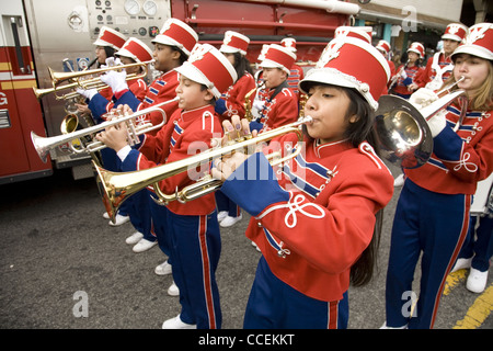 2012 Three Kings Day Parade, Brooklyn, New York. Junior high school marching band in the parade. - Stock Photo