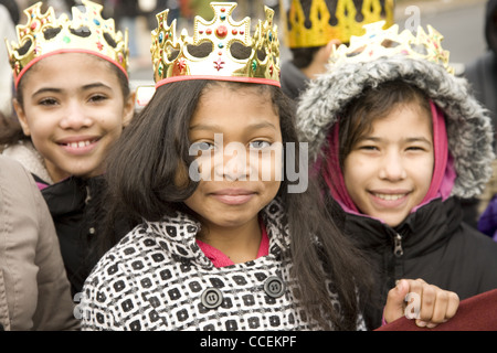 2012 Three Kings Day Parade, Brooklyn, New York. Local elementary school groups march in the parade. - Stock Photo