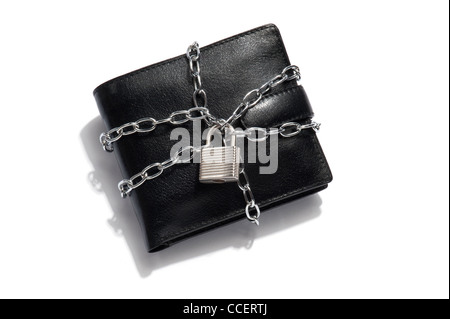 A black leather wallet with a chain and a padlock - Stock Photo