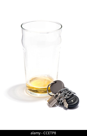 An empty pint of beer and a car key chained and padlocked
