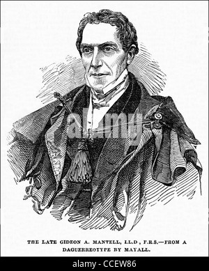 Victorian engraving circa 1852 Gideon Algernon Mantell MRCS FRS (1790 – 1852) English obstetrician geologist and - Stock Photo