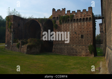 Moats dried by Napoleon in early 18th century encircling the walls of Castello Sforzesco castle Milan Lombardy region - Stock Photo