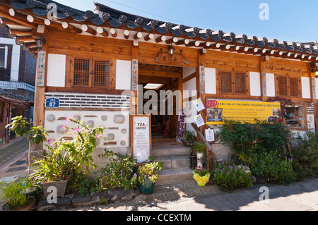 Traditional Korean House in Bukchon Hanok Village which is now used as Tea & Coffee House, Seoul, Korea - Stock Photo