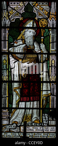 A stained glass window depicting Saint Nicholas, Church of St Nicholas, Carlton Scroop, Lincolnshire. In this depiction - Stock Photo