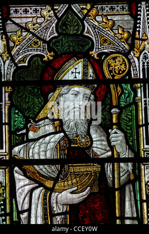 A stained glass window depicting Saint Nicholas, Church of St Nicholas, Carlton Scroop, Lincolnshire - Stock Photo