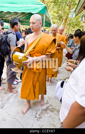 Newly ordained Buddhist monks with shaved heads & wearing orange robes walk by people putting gifts in bowls they - Stock Photo