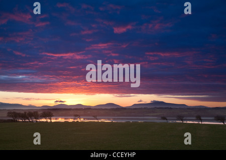 Sunset over the River Moy and Nephin Beg Mountains, County Sligo, Ireland. - Stock Photo