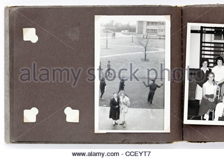 missing image in family photo album England 1950s - Stock Photo