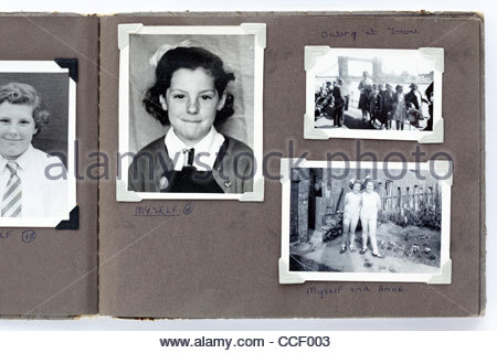 page from a childhood photo album with London Bridge 1950s - Stock Photo