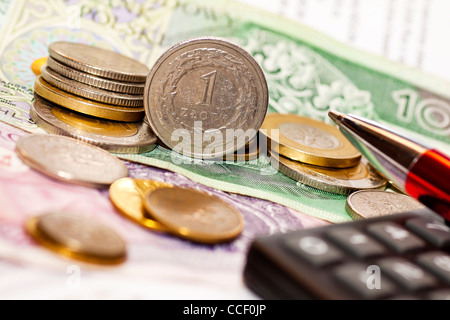 Money coins, calculator on the polish banknotes - Stock Photo
