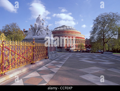 Victorian London historical & tourism landmark buildings corner of the Albert Memorial & Royal Albert Hall concert - Stock Photo