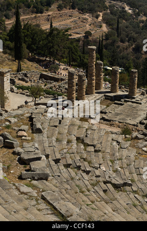 The temple of Apollo and the ancient theater at Delphi, Greece - Stock Photo