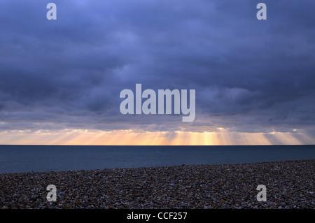 Empty winter seascape ,Worthing - Stock Photo