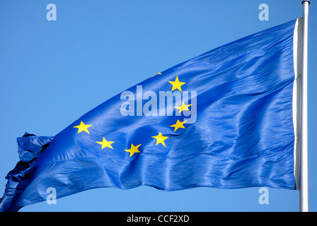 Flag of the European Union at the mast in front of the Federal Chancellery in Berlin. - Stock Photo