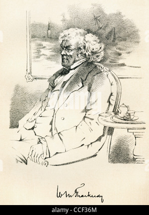 William Makepeace Thackeray, 1811 – 1863. English novelist. From The Maclise Portrait Gallery, published 1898. - Stock Photo