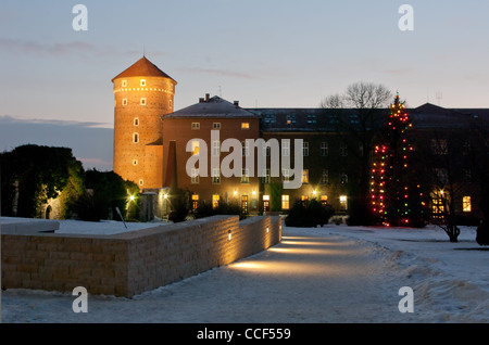 Wawel at the night in winter. - Stock Photo