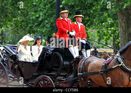 Camilla (Duchess of Cornwall) and Catherine (Duchess of Cambridge) during Trooping the Colour,  Pall Mall, London, - Stock Photo