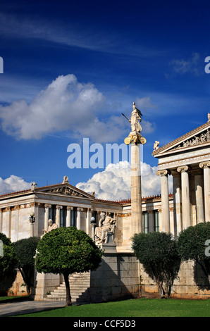 The Academy of Athens, part of the 'Neoclassical Trilogy', Panepistimious street, Athens, Greece - Stock Photo
