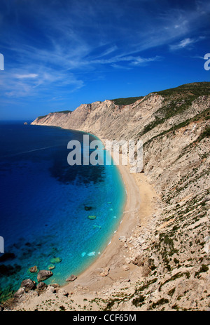 Platia Ammos beach in Kefalonia island, Ionian Sea, Greece - Stock Photo