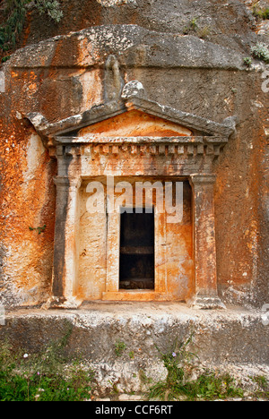 The Lycian tomb, with its Doric facade in Kastellorizo island, Dodecanese, Greece. - Stock Photo