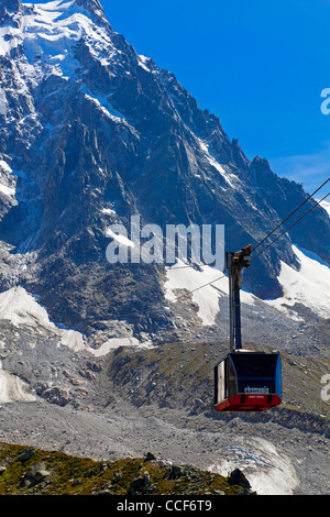 Cable car from Chamonix to Aiguille du Midi near the summit of Mont Blanc the highest peak in the French Alps and - Stock Photo