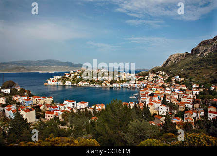 Panoramic view of the picturesque village of Kastellorizo (or 'Meghisti') island, Dodecanese, Greece - Stock Photo