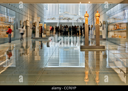 The gallery of the slopes of the Acropolis from the (new) Acropolis Museum (level 0). Athens, Greece. - Stock Photo