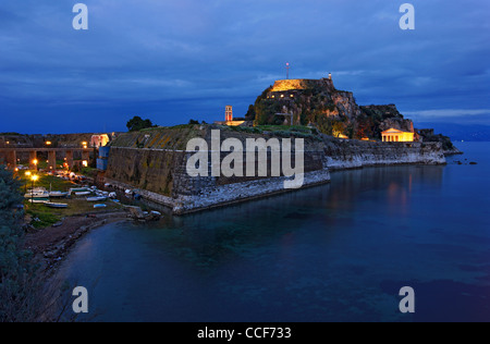 Greece, Corfu (or 'Kerkyra') island. The Old Fort and the canal called 'Contrafossa', that separates it from the - Stock Photo