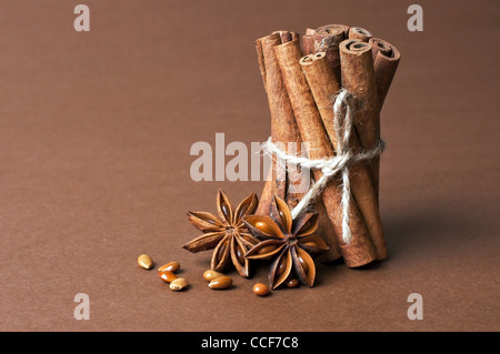 Cinnamon stick and anise stars on brown background - Stock Photo
