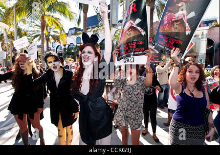 Nov. 26, 2010 - Beverly Hills, California, USA - Demonstrators march on Rodeo Drive in Beverly Hills on 'Fur-Free - Stock Photo