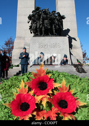 Nov 11, 2010 - Ottawa, Ontario, Canada - Poppies are placed on the Tomb of the Unknown Soldier following a Remembrance - Stock Photo