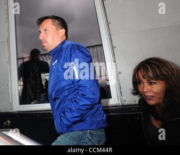 Nov. 5, 2010 - Manhattan, New York, U.S. - Rescued Chilean miner EDISON PENA with his wife ANGELICA ALVAREZ (R) - Stock Photo