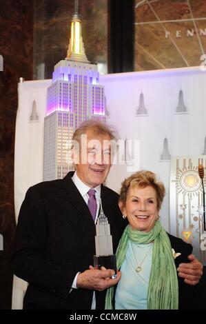 Nov. 1, 2010 - Manhattan, New York, U.S. - Sir IAN MCKELLEN with DENA HAMMERSTEIN, founder of of Only Make Believe - Stock Photo