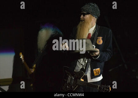 American blues rock band ZZ Top performing live in Moscow. Pictured: member of the band  Billy Gibbons  . - Stock Photo