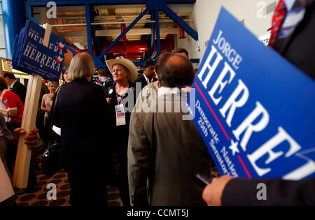 Jun 19, 2004; Houston, TX, USA; MADGE BLURTON of San Antonio, a delegate from the 21st district, socializes in the - Stock Photo