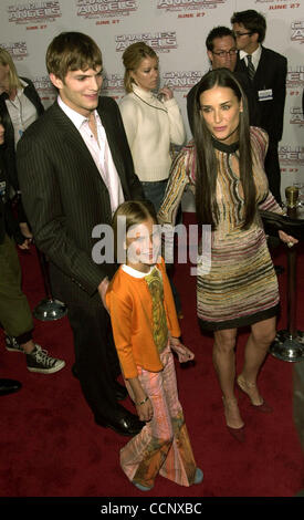 Jun 18, 2003; Hollywood, CA, USA; Actress DEMI MOORE arrives with new boyfriend actor ASHTON KUTCHER @ the premiere - Stock Photo