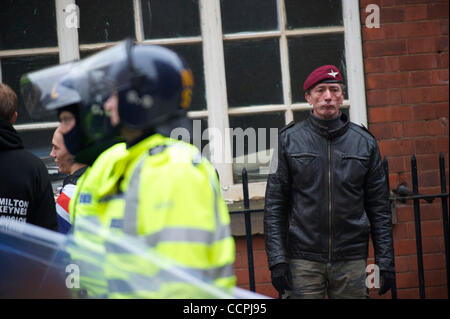 Oct 9, 2010 - Leicester, England, United Kingdom - Members of the English Defence League (EDL) protest in Leicester, - Stock Photo