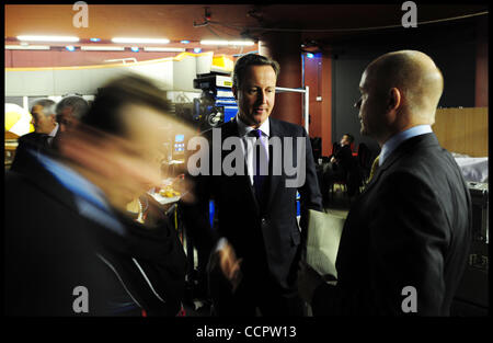 Oct. 3, 2010 - Birmingham, United Kingdom - The Prime Minister David Cameron talks to The Foreign Secretary William Hague backstage at the Conservative Party Conference in Birmingham, Sunday October 3, 2010. Photo By Andrew Parsons (Credit Image: © Andrew Parsons/ZUMApress.com) Stock Photo