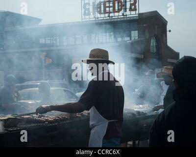 Detroit, Michigan   Barbecue at urban market in Detroit, Michigan, United States - Stock Photo