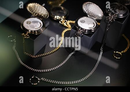 Mar 23, 2010 - Basel, Switzerland - TISSOT pocket watches are displayed at the exhibition stand of the Baselworld - Stock Photo