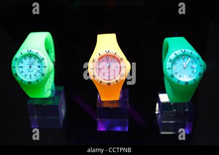 Mar 23, 2010 - Basel, Switzerland - An Italian brand Toy Watches are displayed at the exhibition stand of the Baselworld - Stock Photo